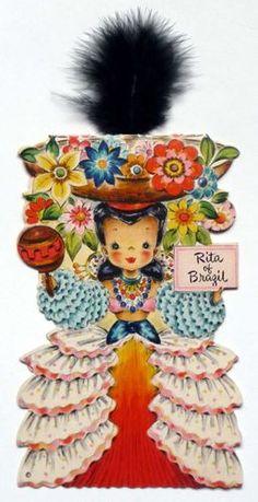 1948 Hallmark Dolls of the Nations Card No. 20 Rita of Brazil