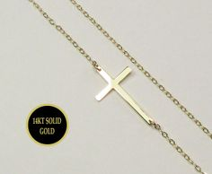 14KT GOLD Sideways Cross Necklace Kelly Ripa SMALL by gemsinvogue, $140.00
