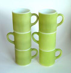 lime green vintage coffee mugs