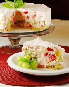 Fruit Salad Cheesecake - Think upscale fruit cocktail wrapped in a creamy, light-and-fluffy cream cheese-and-whipped-topping blanket. And what a different way to present fruit salad! I loved it.