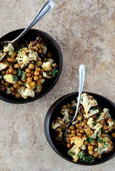 Roasted Cauliflower + Chickpeas with Dijon Vinaigrette from The Wheatless Kitchen