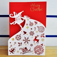Free shipping large paper Congratulations on paper-cut card christmas card(China (Mainland))
