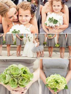 Too cute! little girls, bridesmaid dresses, flowergirl tutu, modern weddings, wedding colors, flower girl dresses, wedding color schemes, flower girls, succulent bouquets