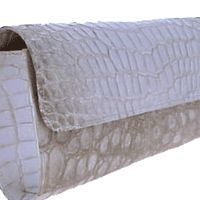 "Designer genuine ""White"" Alligator leather clutch bag SALE up to 75% off retail prices"