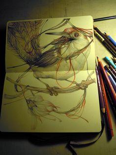 marco mazzoni-the songwriter bird on moleskine
