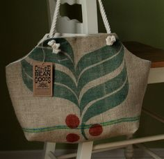 Bag made from recycled Coffee Bean sacks...cool!