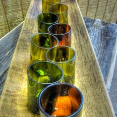 8 Wine Bottle recycled Glasses and Extra Large Serving Tray