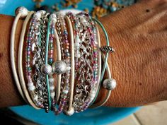 """Boho Chic Endless Sherbert Fresh Leather Wrap Beaded Bracelet with Silver Stardust Accents....""""FREE SHIPPING""""   by LeatherDiva, $38.00"""