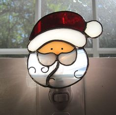 Santa Claus Stained Glass Night Light by hobbymakers on Etsy