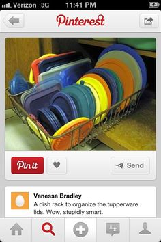 Need to do this. Dish rack to organize tupperware lids.