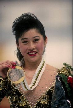 Kristi Yamaguchi - 1992 Olympic Figure Skating Champion ...  Kristi Yamaguchi was the first American woman to win the Olympics in figure skating since 1976. Yamaguchi competed in pairs skating with partner Rudy Galindo. In 1989, she became the first woman, in thirty-five years, to win two medals, one in singles and one in pairs, at the U.S. nationals.
