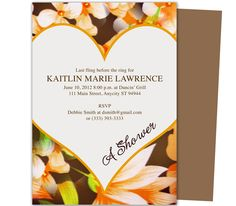 Great Fall Sheer Bridal Shower Invitation Templates. Easily edits in Word, OpenOffice, Publisher, and Apple iWork Pages.
