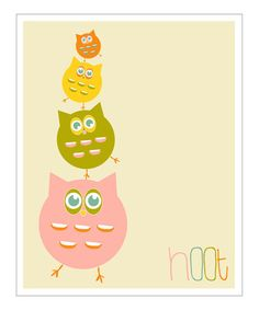 Take a look at this Pink 'Hoot' Giclée Print by Finny and Zook on #zulily today!