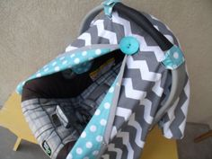 Carseat Canopy Chevron Aqua Dot REVERSIBLE RTS....add a drawstring to the bottom!