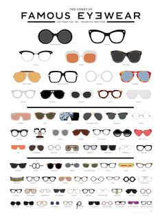 A meticulously illustrated eye chart of famous eyewear featuring 73 iconic frames from history, film, music, fashion and culture.