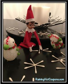 Elf on the Shelf - making snowflakes with q-tips