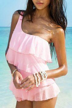 One Shoulder Flouncing Swimsuit OASAP.com