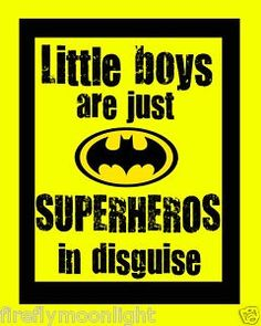 Little Boys Superhero Quote Boy Room Wall Art Decore for-the-kids