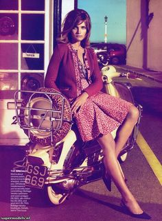 vogue, vespas, natalia vodianova, bottega veneta, motorcycle girls, fashion photography, grace coddington, scooter, september