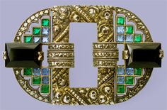THEODOR FAHRNER  Art Deco Brooch  Parcel gilt silver, onyx & marcasite  Length: 7.5cm  Width: 7cm  Marked: 'TF & 935'  German. Circa 1925