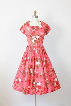 Raspberry Floral 1950s Dress from Etsy