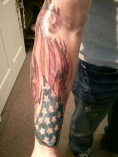 American Flag Tattoo like that but shoulder down to elbow