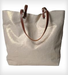Shimmery Linen and Leather Tote Bag beach bag, fashion, women bags, metal linen, women accessories, linens, leather tote, independ reign, tote bags