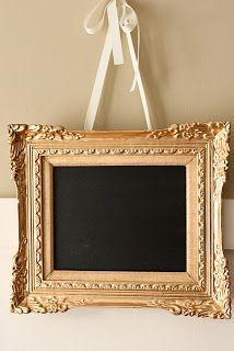 Gold frame with chalkboard inside. Home decor ideas. Master bathroom notes, master bedroom decor