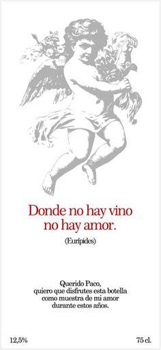 Diselo con vino. Etiqueta Romántica 8.