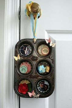 Muffin Tin Wall Hanging #yard sale #garage sale #tag sale #recycle #upcycle #repurpose #redo #remake #thrift #www.theyardsalelady.com