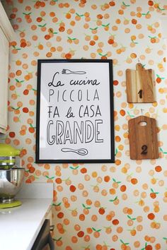 hand stamped, orang, small kitchens, little kitchen, apples