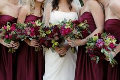 cranberri, purple, bridesmaid dresses, the dress, wedding colors, fall weddings, flowers, winter weddings, bridesmaid bouquets