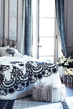 Winter pretty.  Love the palette. #anthrofave #juvenilehalldesign bedding, bed covers, beds, anthropology, vintage winter, anthropologie, bedrooms, glacial fring, fring pouf