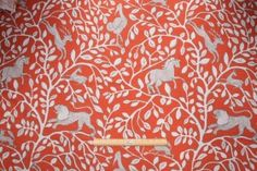 Robert Allen Pantheon Printed Cotton Drapery Fabric in Persimmon $28.95 per yard