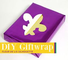 How to create Fleur de Lis Silhouette Gift Wrap.  Party Ideas by Mardi Gras Outlet