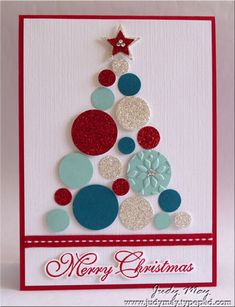 handmade Christmas card ... clean and simple look ... tree made up of punched circles in various sizes ... white base ... red ribbon, ink and mat line ... aqua, silver glitter, red glitter and deep teal circles .. beautiful!! ... Stampin' Up!