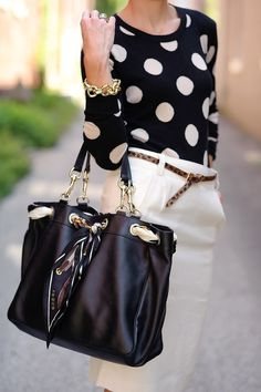 #Black with White Polka Dots
