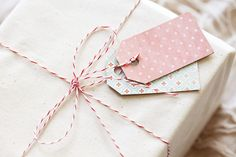 Use plain paper and two homemade tags with patterns.
