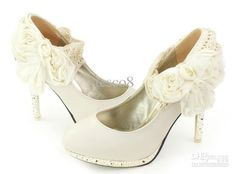 Wholesale Wedding - Buy Fashion Women's High Heels Big Flowers Beige Bridal Shoes Princess Shoes Wedding Shoes, $29.55   DHgate