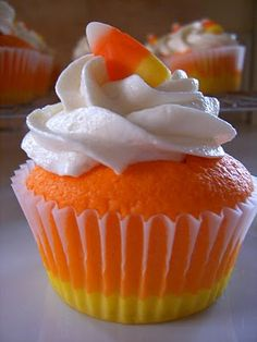 Candy Corn Cupcakes for Halloween!