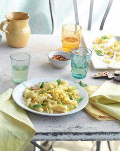 Campanelle with Corn, Scallions, and Arugula Recipe