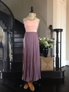 Pink and Violet Color Block Maxi
