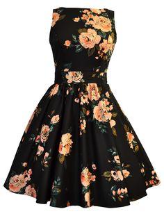 Black & Pink Rose Print Tea Dress || Classic