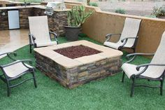 faux stone, yard, built in firepit, fire pit