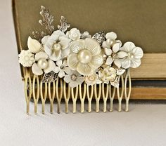 Silver Bridal Hair Comb  Vintage Shabby Chic Hair Comb by lonkoosh, $96.00