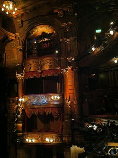 The Royal Box at the London Palladium.  When we sat there 6 year old Sam commented that the Queen had to walk a long way to get her interval ice cream.