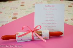 Baking Party Girl Rolling Pin Birthday Invitations-and party ideas