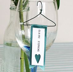 wines, table decorations, idea, glasses, place cards, wine glass, dinner parti, places, hangers