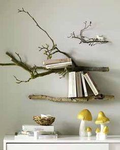 decor, branch shelv, shelves, book, natural wood
