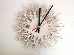 Modern wall clock - Coral branch